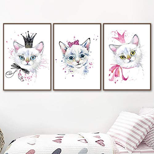 Fashionable cute cartoon cat anime wall painting canvas painting Nordic posters and prints baby child room decoration wall painting
