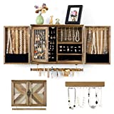 ikkle Rustic Jewelry Organizer Wall Mounted Jewelry Holder with Wooden Barn Door for Necklaces Earings Bracelets Ring Holder, with Removable Bracelet Rod Includes Hook Organizer for Hanging Jewelry