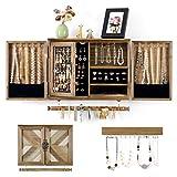 Organiseur de bijoux mural rustique avec porte de grange en bois pour...