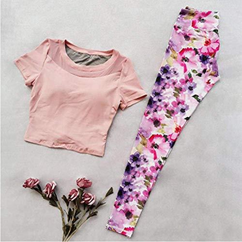 PJPPJH Sicherheitshose mit hoher Taille, Yoga-Shirt Sporthemd Yoga-Sets mit Fitness-Print Jogging-Kleidung für Fitness-Frauen Nahtlose Frauen-Sets
