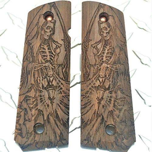 HKTC Customs Grim Reaper Gothic Art Laser Carved American Walnut 1911 Grips