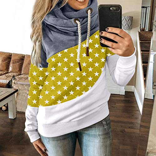 Janly Clearance Sale Women's Long Sleeve Tops, Women Autumn Winter Casual Stars Contrast Long Sleeve Hoodie Sweatshirt Tops, Women Printed Blouse for Easter St Patrick's Day Gifts (Yellow-S)