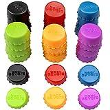 JustYit 24 tapas de silicona para botellas de colores, tapones de goma reutilizables, tapas de cerveza, tapas para botellas de cerveza casera, utensilios de cocina, 6 colores