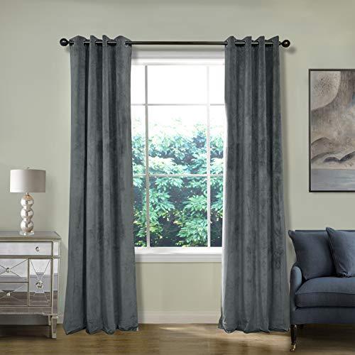 ChadMade Blackout Lined Premium Velvet Curtain Natural Grey 50Wx84L Inch (1 Panel), Eyelet Grommet for Livingroom Bedroom Theater Studio, Birkin Collection