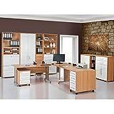 lisel-de Büromöbel Maja System Komplettset Arbeitszimmer in Buche/Weiß Hochglanz 10-teilig