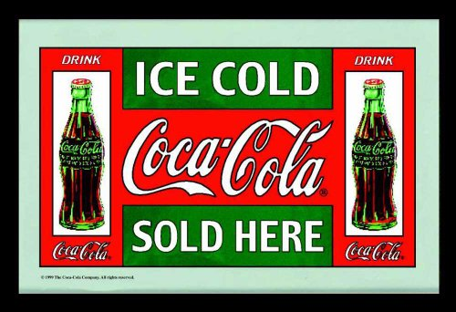 empireposter Coca Cola - Verkoop - grootte (cm), ca. 30x20 - Bedrukte spiegel, NIEUW - beschrijving: - Bedrukte wandspiegel met zwart kunststof frame in houtlook -