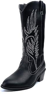 Botas Cowboy Mujer con Tacon Botas Moda Western Imitación Zapatos Invierno Altas Vaquero Talón Bloque 5.3 CM Negro Marrón ...