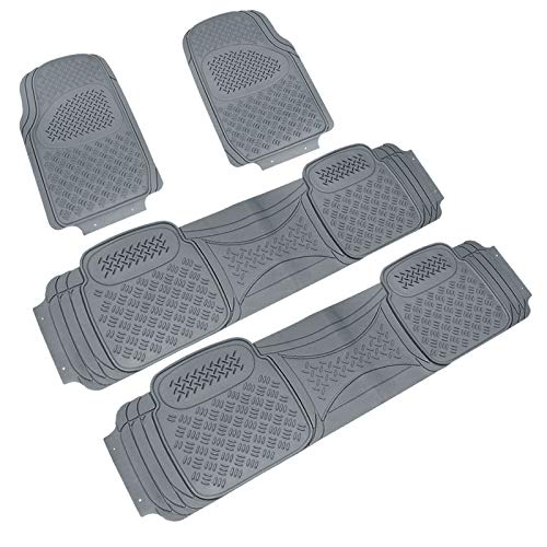 Spec-D Tuning Universal Fitment 4Pc Gray Heavy Duty All Weather 3D Rubber Pvc Floor Mats Front + Rear