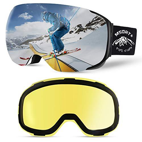 MSOAT Gafas de esquí magnéticas intercambiables con 2 lentes, gafas de nieve grandes esféricas sin marco para hombres y mujeres, protección OTG y UV400 ...