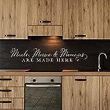 Pandro WTD - Adhesivo decorativo para pared, diseño de comida y recuerdos con cita en la cocina, 127 x 22,8 cm, color blanco