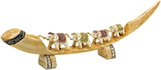 Multi Colored Faux Carved Lucky Elephant Tusk Figurine Coffee Table top Decor