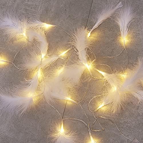 XKMY Cadena de luces LED de jardín de plumas de alambre de cobre LED cadena de luz guirnalda de hadas decoraciones de Navidad para el hogar al aire libre Año Nuevo regalo funciona con pilas