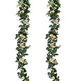 GoMaihe Planta Flores Artificial 2Pcs, 2.4m Guirnalda Artificial Corona de Rosas Corona Decorativa, Regalo de Cumpleaños Boda Navidad Fiesta en El Jardín Sala de Estar Balcón Decoración, Champaña