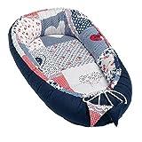 Solvera_Ltd Baby Nest - Reductor para recién Nacidos, Saco de Dormir para bebé, 100% algodón Automobili Talla única (PATCHWORK BLUE)