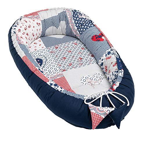 Solvera_Ltd Babynest 2seitig Kokon öko Babybett Nestchen für Neugeborene 100% Baumwolle Kuschelnest Weiches und sicheres Baby-Reisebett mit einer flachen Schlaffläche (50x90) (Patchwork/Blau)