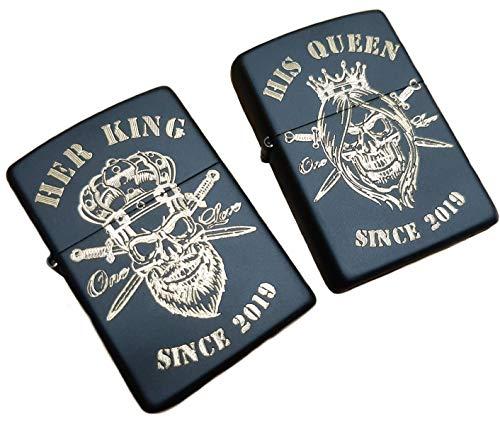 Real Bullet Design Zippo Set Her King & His Queen Incisione dell'anno Partner Punk Rock Skull + Gratis Desiderio Anno Incisione Nero con Scritta in Oro