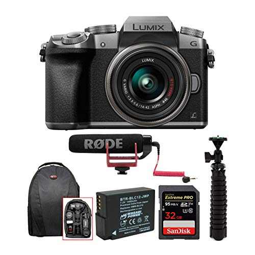 Panasonic LUMIX G7 Interchangeable Lens (DSLM) Camera with 14-42mm Lens (Silver) and Rode Mic Bundle (6 Items)