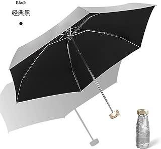 AUWANGAOFEI Titanium Silver Paste Flat Pocket Half of Sun Umbrella Small Fresh Dual Umbrella Barometer (Color : Black, Size : 21)