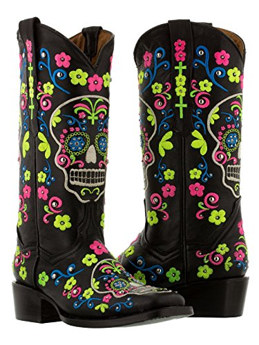 Cowboy Professional - Women's Black Skull Leather Cowboy Boots Square Toe 8 Wide (C,D,W)
