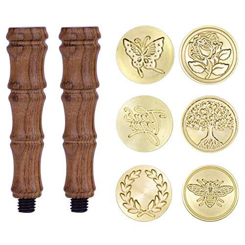 bobotron Set di timbri per cera, 6 timbri in rame, con 2 manici in legno, stile vintage e retrò, con iniziale