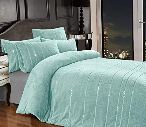 Teddy Bear BLING Diamante Fleece Duvet Cover with Pillow Case Thermal Warm Soft Cozy Bedding Bed Set (Duck Egg Blue Green, Double)