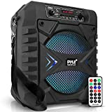 """Portable Bluetooth PA Speaker System - 300W Rechargeable Outdoor Bluetooth Speaker Portable PA System w/ 8"""" Subwoofer, AUX, Microphone in, Party Lights, MP3/USB, Radio, Remote - Pyle PPHP854B, Black"""