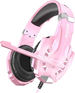 BENGOO Stereo Gaming Headset for PS4, PC, Xbox One Controller, Noise Cancelling Over Ear Headphones Mic, LED Light, Bass Surround, Soft Memory Earmuffs for Laptop Mac Nintendo Switch (Pink)