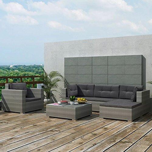 tidyard Conjunto Muebles de Jardín de Ratán 17 Piezas Sofa Jardin Exterior Sofas Exterior,Estructura de Acero,Cojines Extraíbles,Poli Ratán,Gris(Combinable de Diferentes Formas)