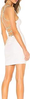 JLCNCUE Women Sexy Dresses Bodycon Backless Clubwear Spaghetti Straps Mini Party Dress 71758