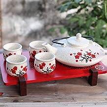 Contemporary Art Decor Japanese hand-painted Porcelain 5 PCS Tea Set Teapot Teacup Plum Blossom