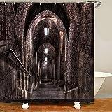XCBN Cementerio Oscuro gótico baño Cortina de Ducha Inodoro Impermeable y partición a Prueba de Moho Cortina de Ducha de separación húmeda y Seca A1 180X180CM