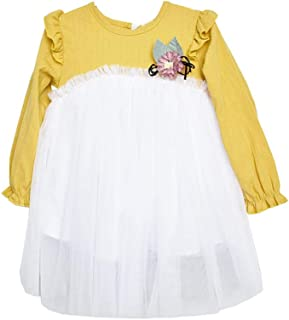 Mornyray Girls Long Sleeve Dress Stitching Cotton Tutu High Waist Princess Mesh Dress