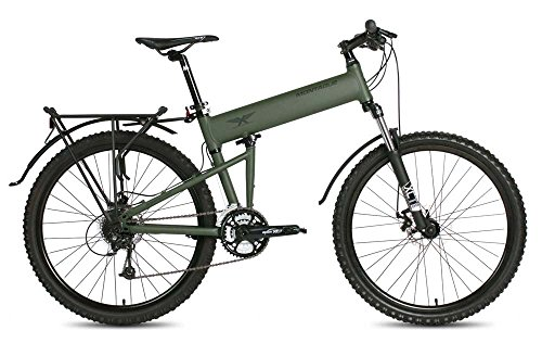 Montague Paratrooper 24 Speed Folding Mountain Bike, Folding Mountain Bike, mountain bikes for men, folding bicycles for adults MTB Cammy Green Medium-18 Inches