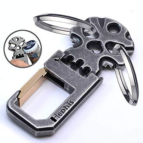 Hephis Strong Keychain mit Hochleistungs-Flaschenöffner, praktischer Schlüsselverwaltung, robusten Autoschlüsselketten für Männer und Frauen (Antik Schwarz und Gold)