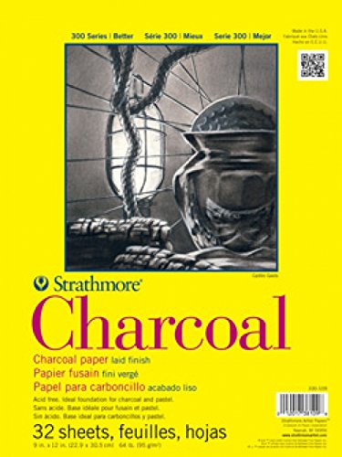 """Strathmore 300 Series Charcoal Pad White, 9""""x12"""" Glue Bound, 32 Sheets"""