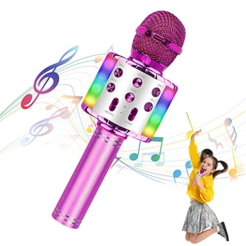 Mikrofone für Kinder Drahtloses Bluetooth-Mikrofon, tragbares Handheld-Spielzeug-Karaoke-Mikrofon-Lautsprecher, Home-KTV-Player mit Aufnahmefunktion, kompatibel mit Android-iOS-Geräten (pink)