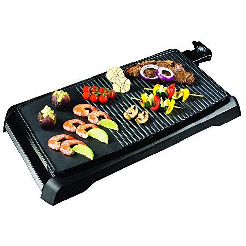 Venga! VG GR 3000 - Parrilla Teppanyaki/plancha con control de temperatura ajustable y revestimiento antiadherente de alto grado, 1800 W (negro/plateado)