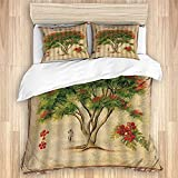 DAOPUDA Funda nórdica(sin edredón) Vintage Poinciana Flor árbol Enmarcado Pintura al óleo artística, Juego de Cama Suave de Lujo de 3 Piezas tamaño Gemelos
