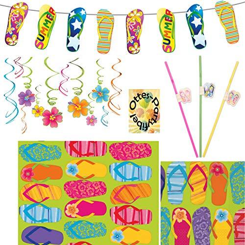 Hawaii Flip Flop Sommer Partyset 46 Teile Servietten Tischdecke Girlande Trinkhalme Dekospiralen