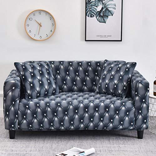 Funda de sofá Antideslizante de Poliéster Spandex Imitación de Cuero Estampado,Negro Funda elástica Antideslizante Protector Cubierta de Muebles para sofá de 2 plazas(1 Funda de Almohada)