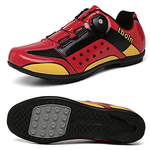 Zapatillas De Ciclismo De Carretera para Hombres Y Mujeres, Antideslizantes, Transpirables, Ultraligeras, para Exteriores, con Hebilla Giratoria, Zapatos para Montar (Rojo)
