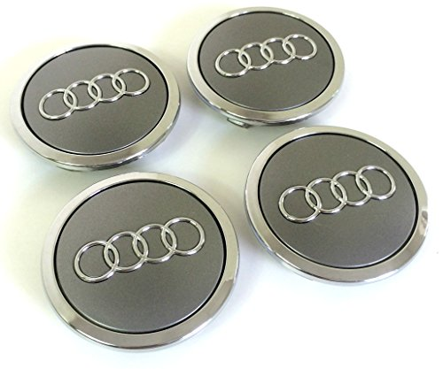 Set of Four Alloy Wheels Centre Hub Caps Grey Covers Badge 69 mm 8t0 601 170 a Fits Audi Juego de cuatro Llantas Center Tapacubos Gris/Cromo protectora nadadores Buje Tapa Buje tapas 69 mm