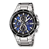 Casio EDIFICE Reloj en caja sólida, 10 BAR, Azul/Negro, para Hombre, con Correa de Acero inoxidable, EFR-519D-2AVEF