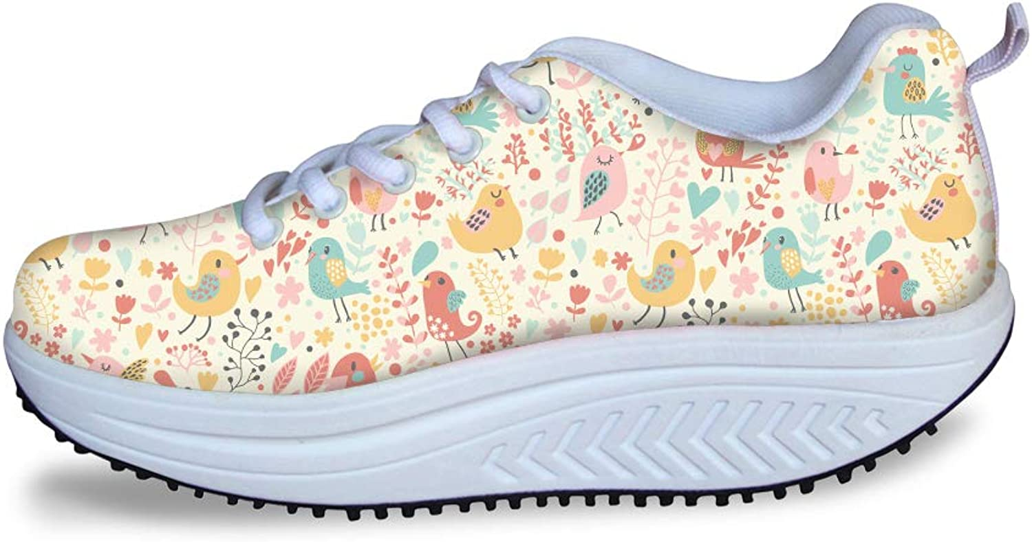 Owaheson Swing Platform Toning Fitness Casual Walking shoes Wedge Sneaker Women Floral Forest Singing Happy Birds