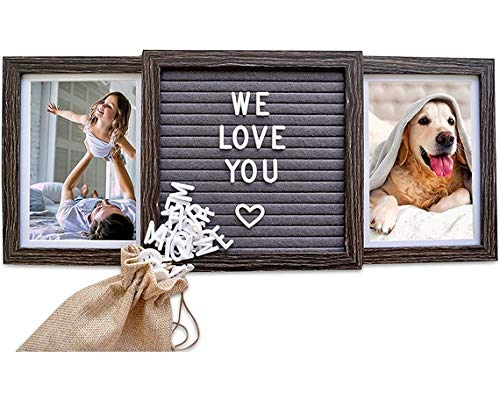 Oak letters Customizable Picture Frame (Standard, Rustic Brown) with Genuine Felt Letter Board: Personalized Two Picture Frame for Family, Friends, Dogs