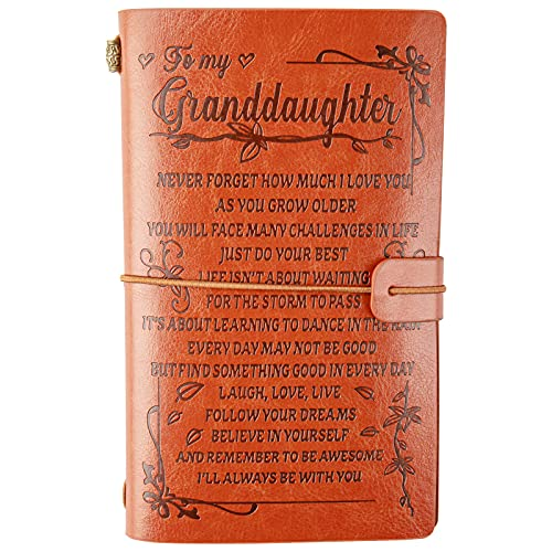 to My Granddaughter Leather Journal -Never Forget How Much I Love You, I'll Always Be with You- 140 Page Keepsake Gift for Granddaughter, Refillable Travel Diary Graduation Back to School Gift
