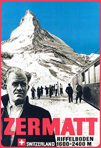 FS Zermatt - Cartel de chapa estriada (1600-2400 m, 20 x 30 cm), diseño de fondo arqueado
