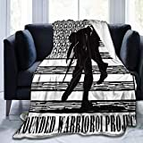 LANMEI Wounded-Warrior Soft Plush Throw Blanket Super Fuzzy Warm Lightweight Thermal Fleece Blankets for Couch Bed Sofa All Season-Black-50 x40