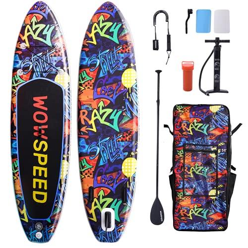 Tabla de surf de remo, hinchable, 320 x 83 x 15 cm, juego de tabla SUP de 8,7 kg, accesorios completos, canoa hinchable, juego de tabla de surf, bomba, bolsa impermeable (graffiti 1)