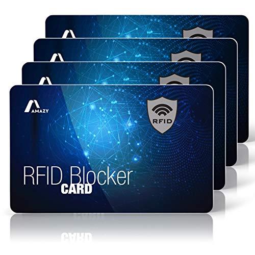 Amazy Protezione rfid nfc (4 pezzi) con segnale di avvertimento LED incl. Etichetta bagaglio - Rfid protection card 100% protettive contro il furto di identità e dati (Universo)